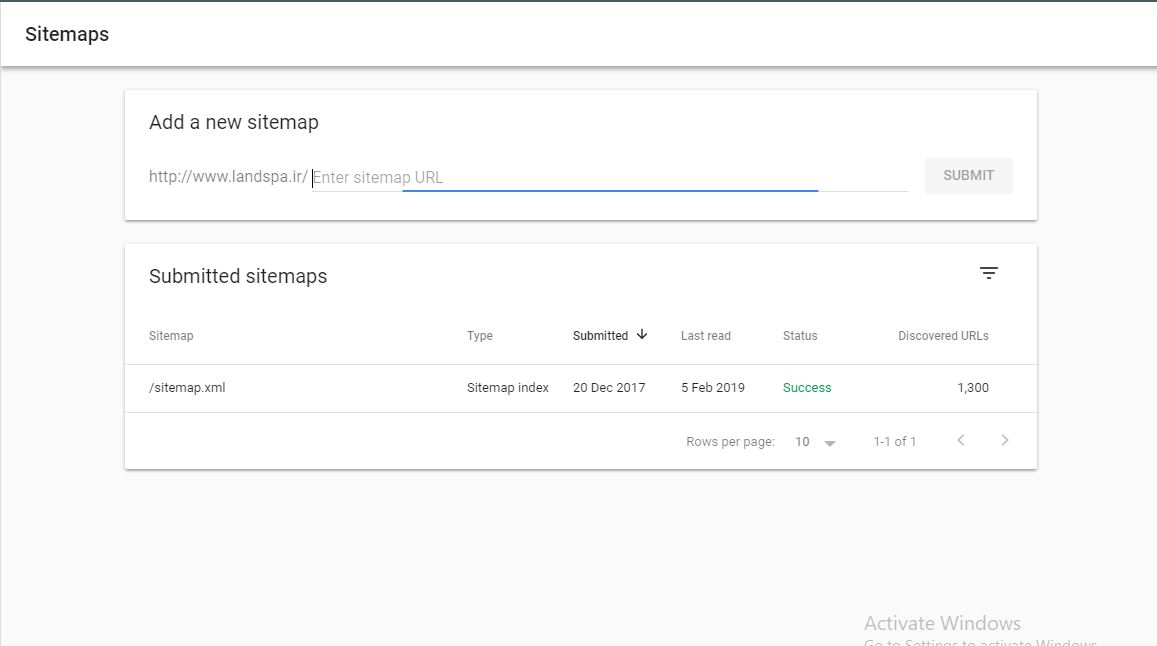 Sitemaps in search console